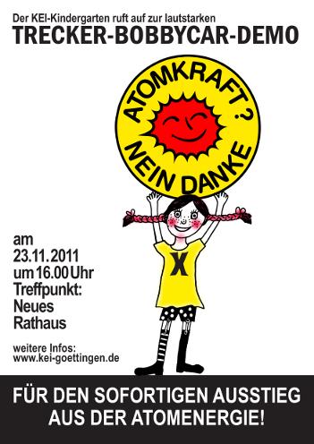 Der Kei-Kindergarten ruft auf zur lautstarken TRECKER-BOBBYCAR-DEMO am 23.11.2011 um 16.00 Uhr, Neues Rathaus